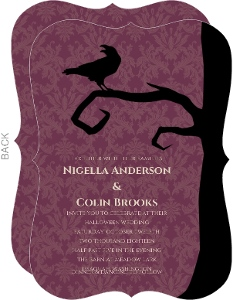 Purple Damask Raven Halloween Wedding Invitation