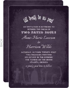 Zombie Tombstone Halloween Wedding Invitation