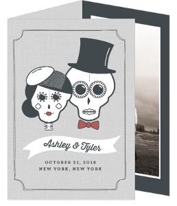 Whimsical Sugar Skulls Halloween Wedding Invitation