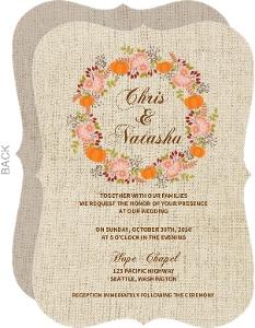 Burlap Pattern Fall Wedding Invitation