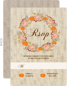 Burlap Pattern Fall Wedding Response Card