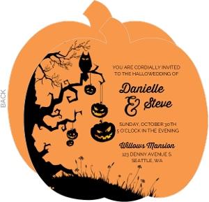 Black and Orange Halloween Wedding Invitation