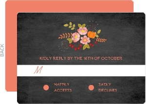 Chalk and Coral Wedding Response Card