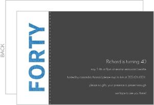 Blue and Gray 40th Birthday Invitation
