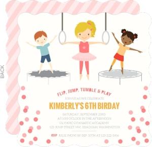 Pink Gymnastics Girls Birthday Party Invitation