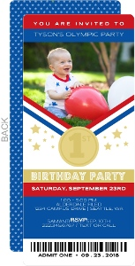 Olympics Ticket Birthday Party Invitation