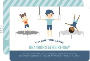 Blue Gymnastics Boys Birthday Party Invitation