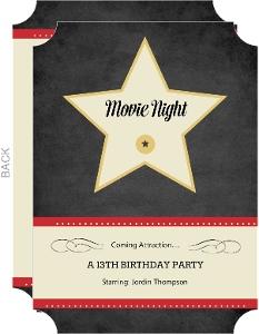 Hollywood Star Movie Night Invite