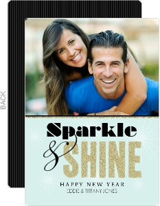 Blue and Black Sparkle and Shine Photo New Years Card