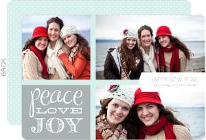 Peace Love Joy Photo New Years Card