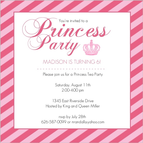 Pink Princess Crown Girls Birthday Party Invitation | Kids ...