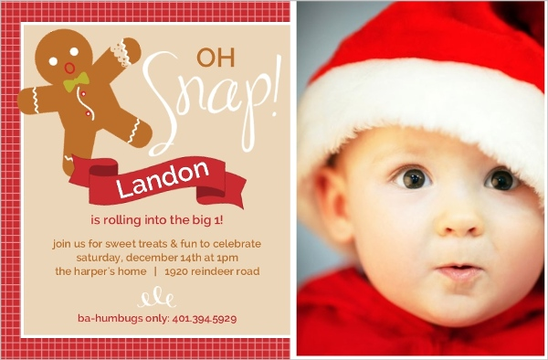 Festive Oh Snap Gingerbread Man First Birthday Invitation First