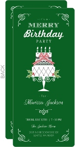 Green Cake Holiday Birthday Invitation