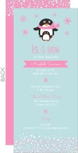 Pink Winter Penguins Girl Baby Shower Invitation