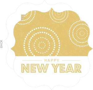 Gold Modern Fireworks New Years Card