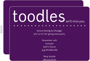 Toodles Purple Going Away Invitation