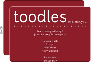 Toodles Maroon Going Away Party Invite