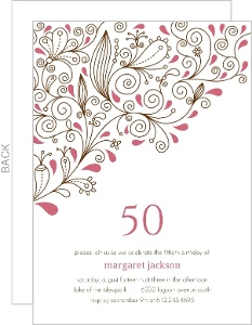 Pink Floral Vines 50th Birthday Party Invitation