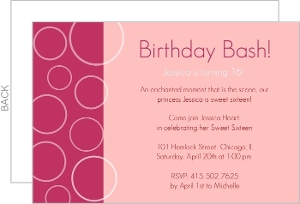 Pink Bubbles Sweet Sixteen Birthday Invitations