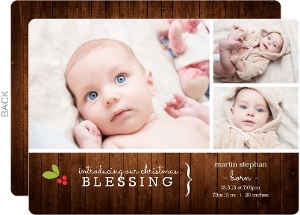 Woodgrain Holiday Birth Announcement