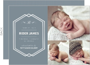 Gray and Blue Classic Photo Birth Announcement