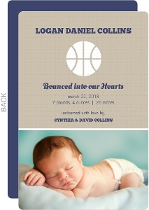 Blue and Brown Basketball Birth Announcement