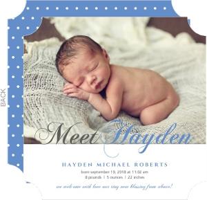 Blue and Gray Script Photo Birth Announcement