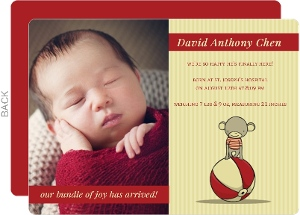 Red and Tan Monkey Birth Announcement