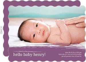 Plum Painterly Birth Announcement