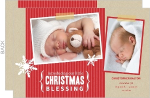 Red Kraft Holiday Birth Announcement