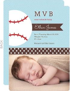 Blue Baseball Boy Birth Announcement