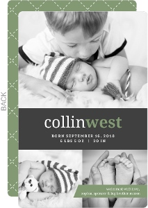 Gray and Green Classic Monogram Birth Announcement