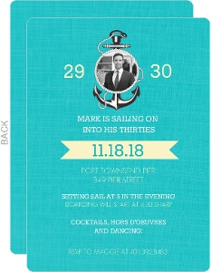 Blue Sailing 30th Birthday Invitation