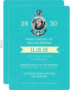 Blue Sailing 30th Birthday Invitation