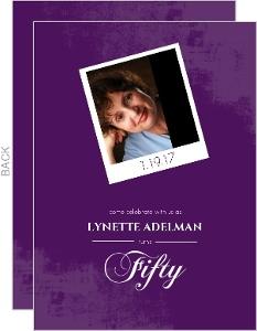 Purple Framed Photo 50th Birthday Party Invitation