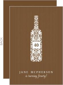 Brown Stripe Wine Bottle Birthday Invitation