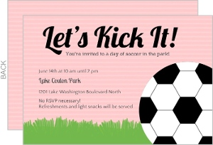 Pink Soccer Ball Sports Party Invitation