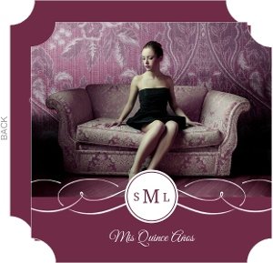 Plum Monogram Swirl Quinceanera Invitation