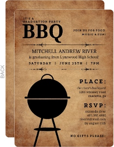 Rustic Backyard BBQ Graduation Invitation
