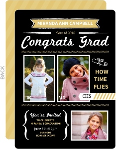 Gold and Black Modern Banners Graduation Invitation