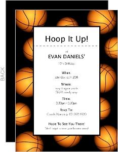 Basketball Border Sports Party Invitation