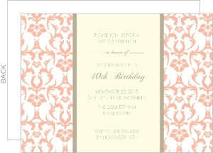 Peach and Texture 40th Birthday Invitation