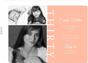 Peach Three Photo Thirtieth Party Invitation
