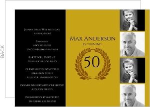 Golden Timeline Birthday Invitations