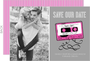 Bright Pink Mixed Tape Save the Date Announcement