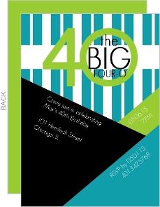 The Big 4-0 Angles & Stripes Birthday Invite