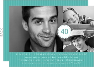 Turquoise Celebration 40th Birthday Invitation