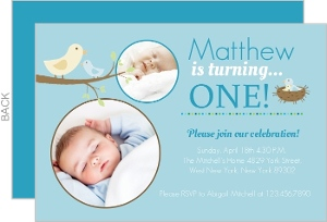 Light Blue Bird Nest First Birthday Invitation