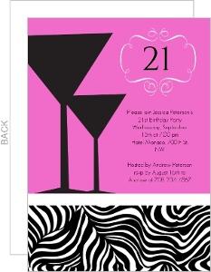 Pink Martinis Zebra Print 21st Birthday Invite