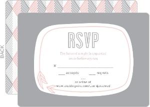 Pink Modern Geometric Pattern Wedding Response Card